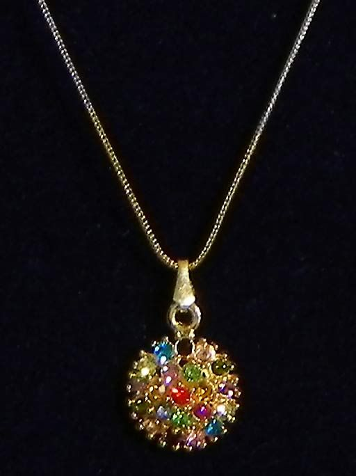 Multicolor Stone Studded Pendant with Silver and Golden Chain (Stone and Metal)