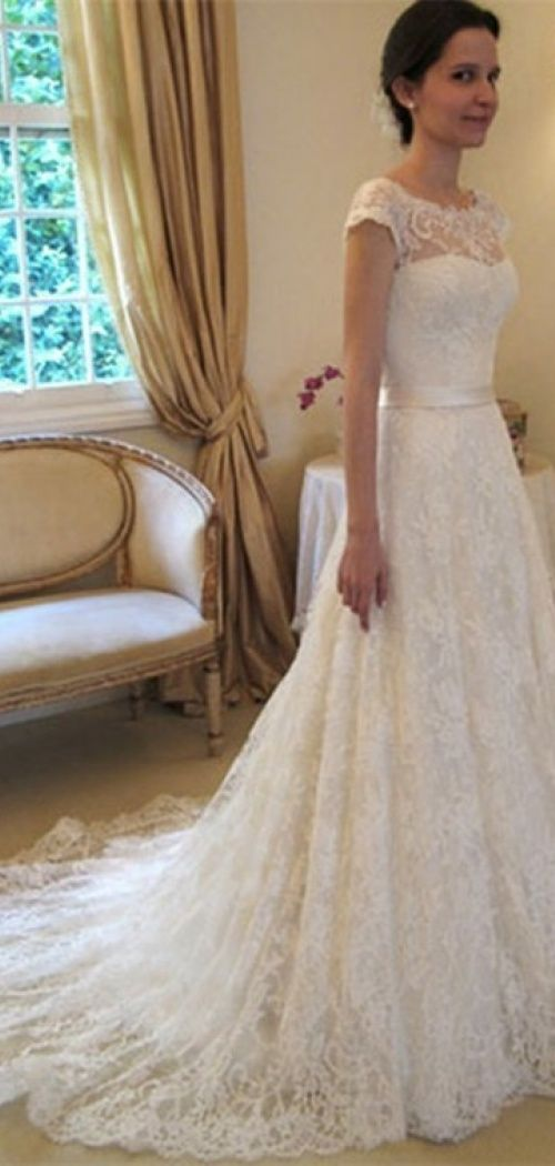 Vintage A-Line Lace Wedding Dresses; I like the neckline on this