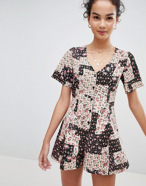DESIGN Swing Romper With Button Front In Patchwork Floral Print in