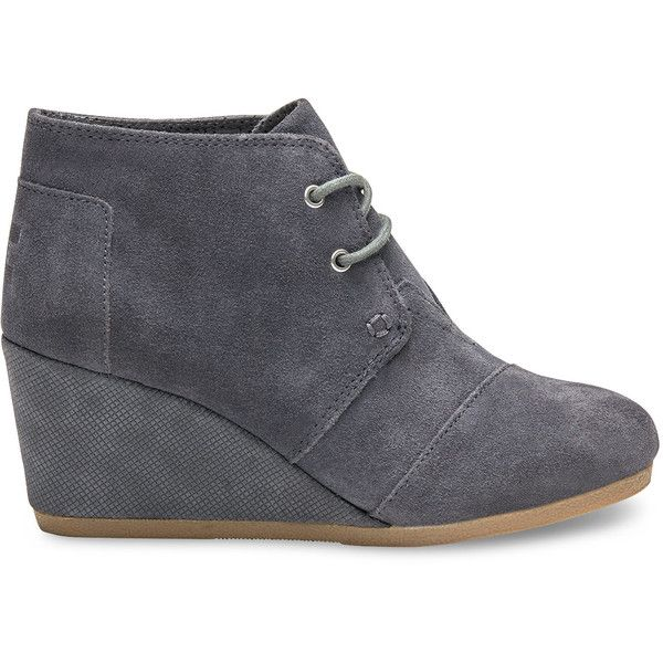 TOMS Castlerock Grey Suede With Embossed Wedge Women's Desert Wedge... ($74) ❤ liked on Polyvore featuring shoes, boots, ankle booties, castlerock grey, gray wedge booties, suede wedge booties, wedge ankle boots, suede wedge bootie and grey booties
