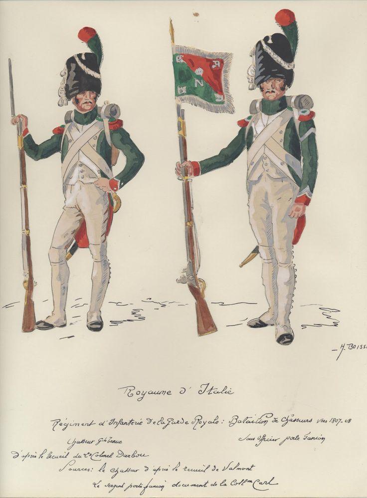 Italy; Royal Guard, Chasseur Battalion, Chasseur, Grande Tenue & Sous-officier, Porte-fannion, 1807-08 by H.Boisselier