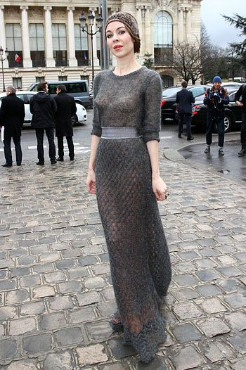 Ulyana in sheer grey knit maxi and twenties style hairband. streetstyle