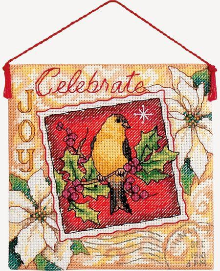 "Joy Ornament - Cross Stitch Kit $4.55 at 123Stitch.com. Kit contains pre-sorted cotton thread, 18 count ivory cotton Aida, felt, needle, and instructions. Also needed but not included: thick craft glue and quilt batting. Size: 4 1/4"" x 4 1/4""."