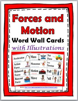Forces and Motion Word Wall Cards with Illustrations