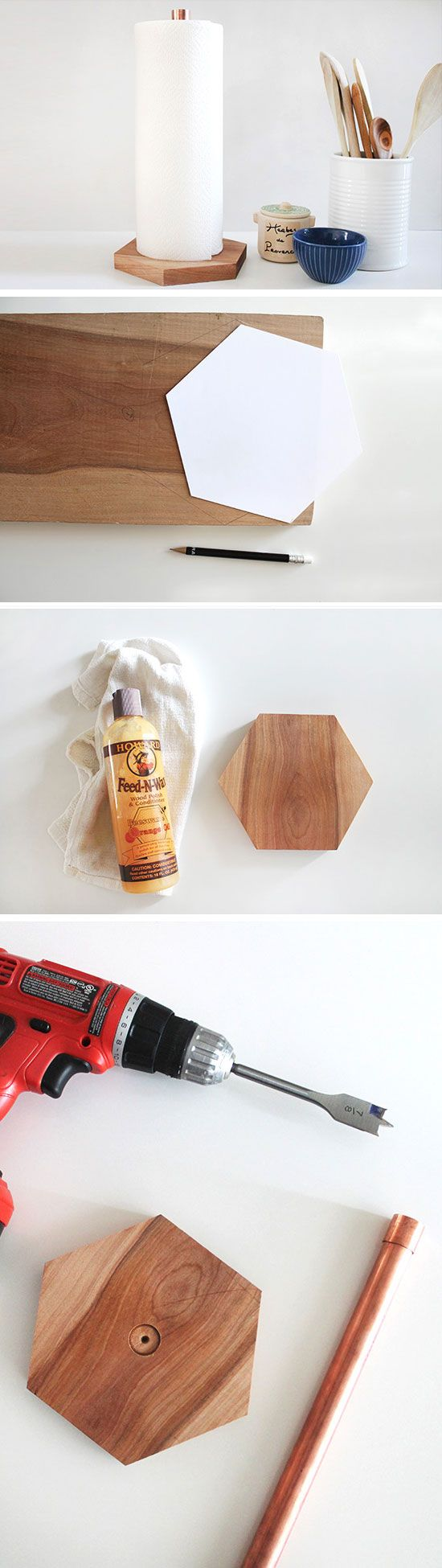 Copper + Wood Paper Towel Holder | Click Pick for 23 DIY Kitchen Organization Ideas | DIY Kitchen Storage Ideas for Small Kitchens