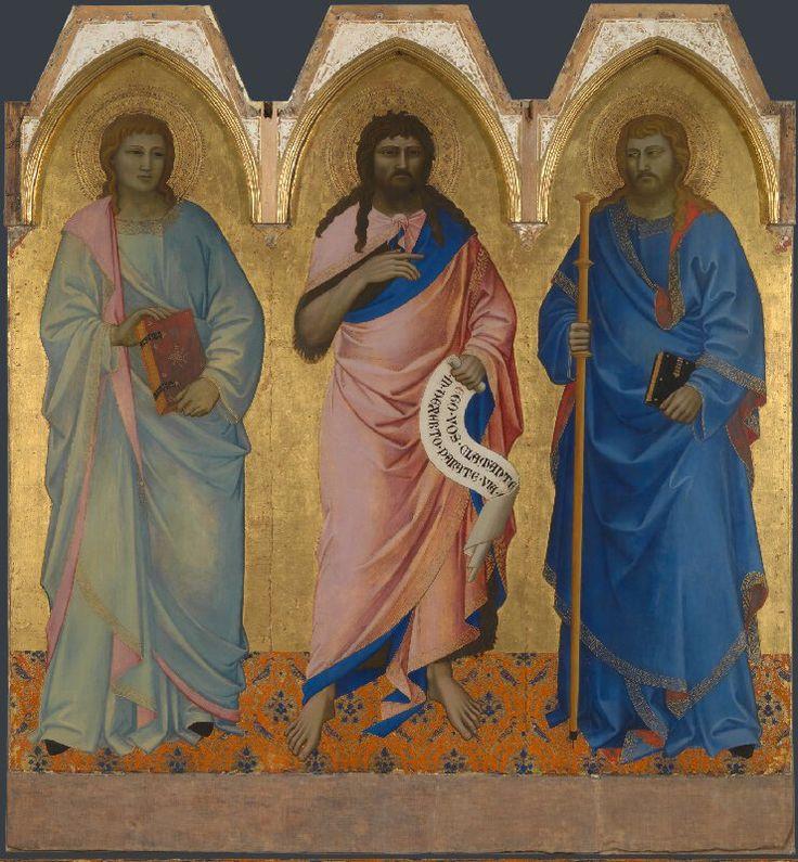 Nardo di Cione - Santi Giacomo, Giovanni Evangelista e Giovanni il Battista - 1365 - Tempera su tavola - National Gallery. Londra