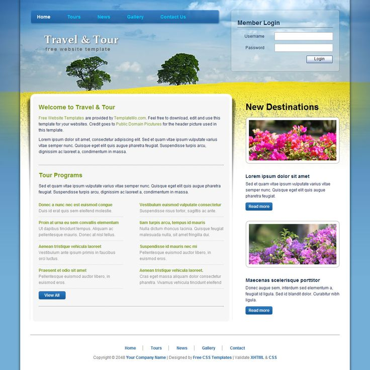 15 best free travel html templates images on pinterest free travel and tour is a free website template that is simply attractive and it comes with standards compliant html and css codes pronofoot35fo Gallery