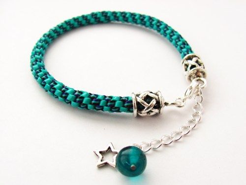 Turquoise Lanyard String Bracelet With Extender Chain And Star Dangle | VioletRosePetals - Jewelry on ArtFire