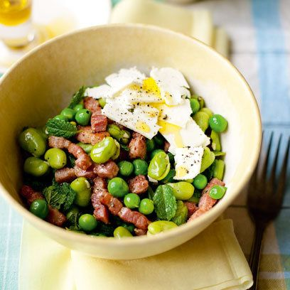 Pea, broad bean, bacon and feta salad with mint: 10 best summer salads: recipes: food: Red Online