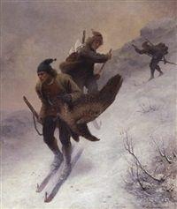 Jægere på vej ned af fjeldet by Knud Larsen Bergslien
