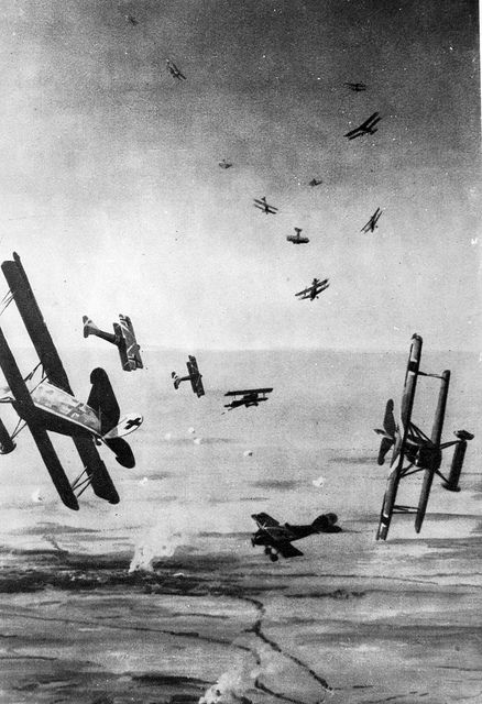 German Albatros D.III formation ready prepare to enter combat, World War I. P.S.: Note the observation baloons at the background and what seems to be a bombed (burning) village on the ground.
