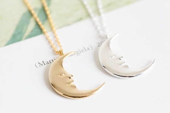 Half Moon Necklace, Crescent Moon Necklace, Half Moon Jewelry, Fashion Jewelry…