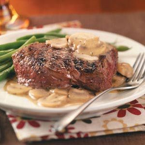 Grilled Steaks with Mushroom Sauce Recipe #FathersDayRecipe