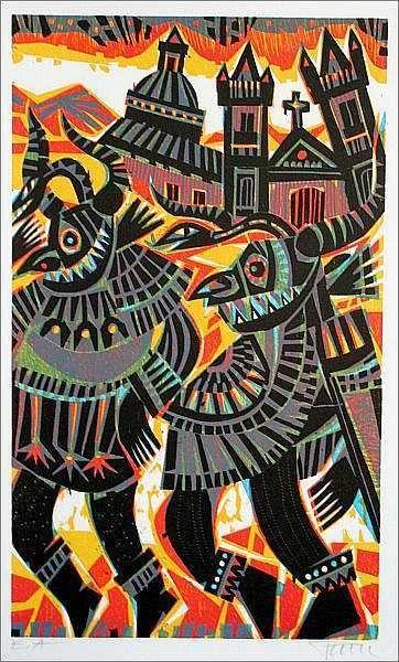 FEUERTANZ Original-Holzschnitt Bildformat 50 x 30 cm, auf Bütten 76 x 57 cm, Auflage 100 Exemplare, signiert und hier als E.A. (epreuve d'artiste) bezeichnetes Künstlerexemplar.