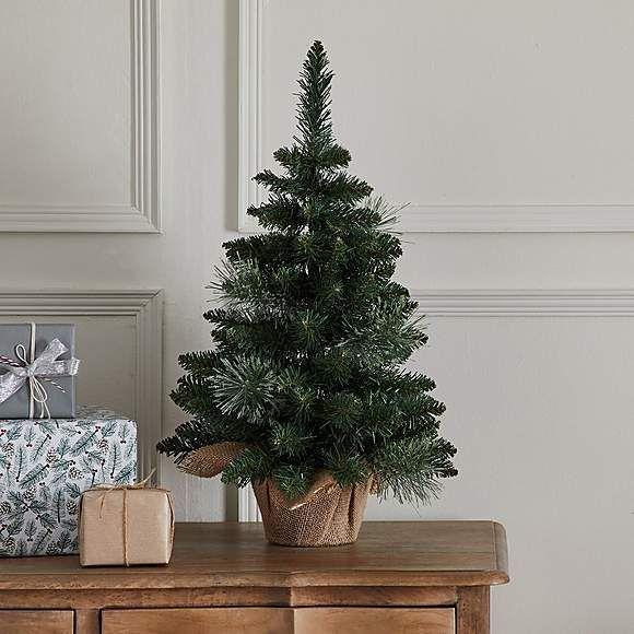 1 5ft Christmas Tree With Hessian Pot Dunelm Christmas Tree Pre Lit Christmas Tree Christmas Decorations