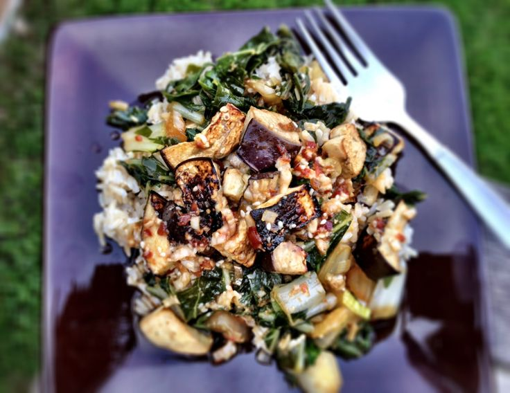 spicy sesame eggplant and bok choy stir fry - Dishing Up the Dirt ...