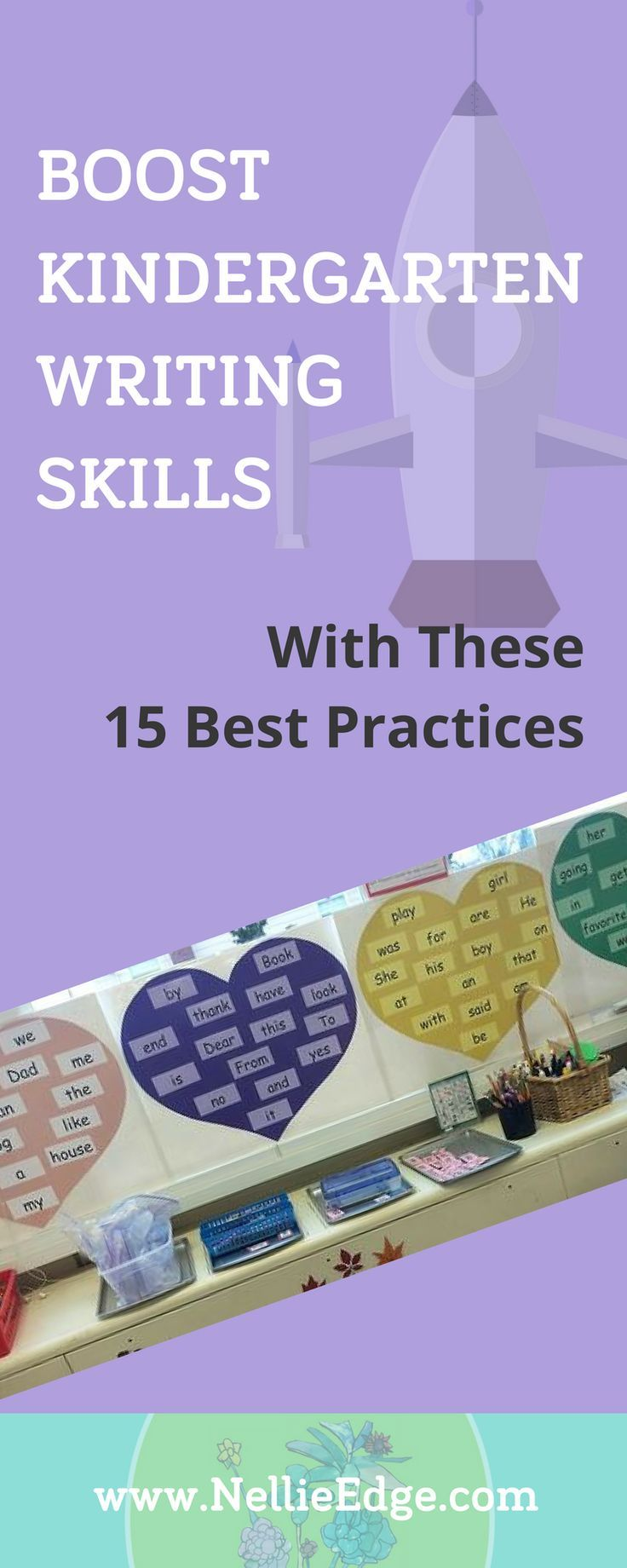"""Boost Kindergarten Writing Skills with These 15 Best Practices: Start with these 15 best practices for kindergarten writing. Fluency with meaningful sight word sentences (we call them """"heart word"""" sentences) is vital to kindergarten writing workshop success. Have high expectations. Give students crystal-clear learning targets. Use authentic kindergarten-friendly center activities. Learn more at http://nellieedge.com/weekly-focus/kindergartners-writing-proficiency/"""