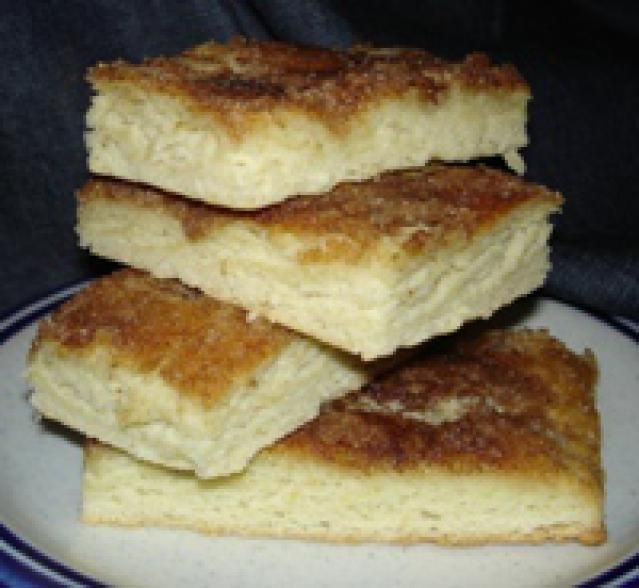 """Butterkuchen - German Buttercake  This yeasted sheet cake is a great alternative to donuts or muffins for your morning coffee. Germans are just as likely to serve it in the afternoon, when they are having """"Kaffee und Kuchen"""" (coffee and cake)."""