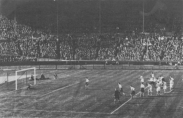30th April 1938. Preston North End inside forward George Mutch scores from the penalty spot two minutes from the end of extra time against Huddersfield Town in the FA Cup, at Wembley.