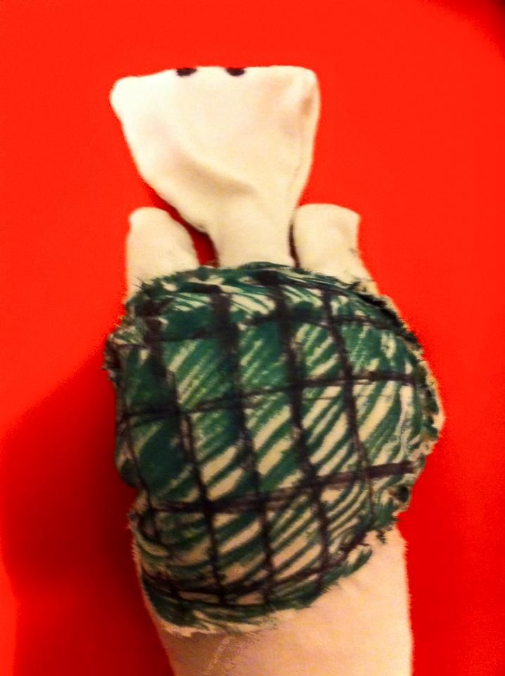 Handmade Tortoise hand puppet, upcycling old clothes:
