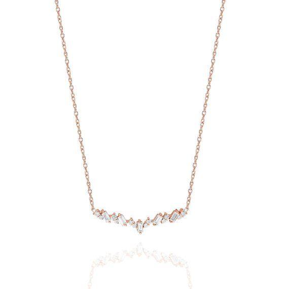 Baguette Diamond Necklace, 14k Gold Baguette Cut Diamond Necklace, Minimalist Baguette Necklace, Dainty Diamond Necklace, Valentine's Gift