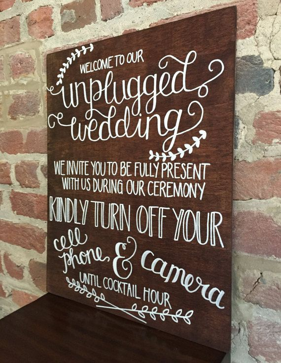 Unplugged Wedding Ceremony Sign Stained Wood by gratefulheartshop