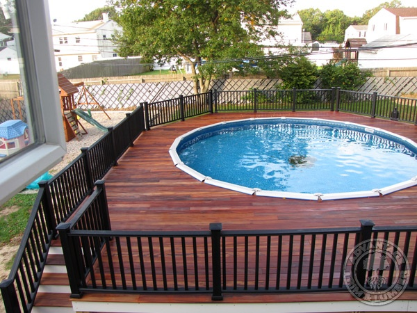 Wonderful Above Ground Pool With Deck And Railings Traditional Pool