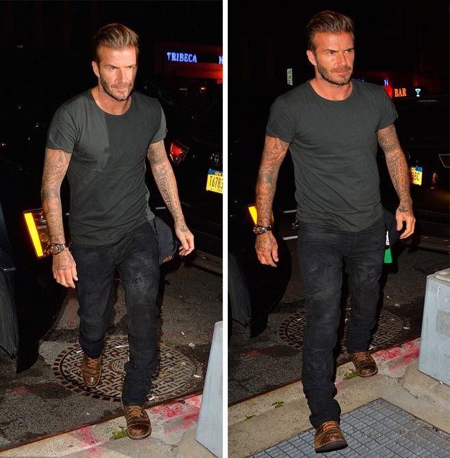 David Beckham sports Belstaff Biker Jeans and Lace-up Boots in new York City  #davidbeckham #bestaff #bikerjeans #jeans #boots #outlawz #newyorkcity