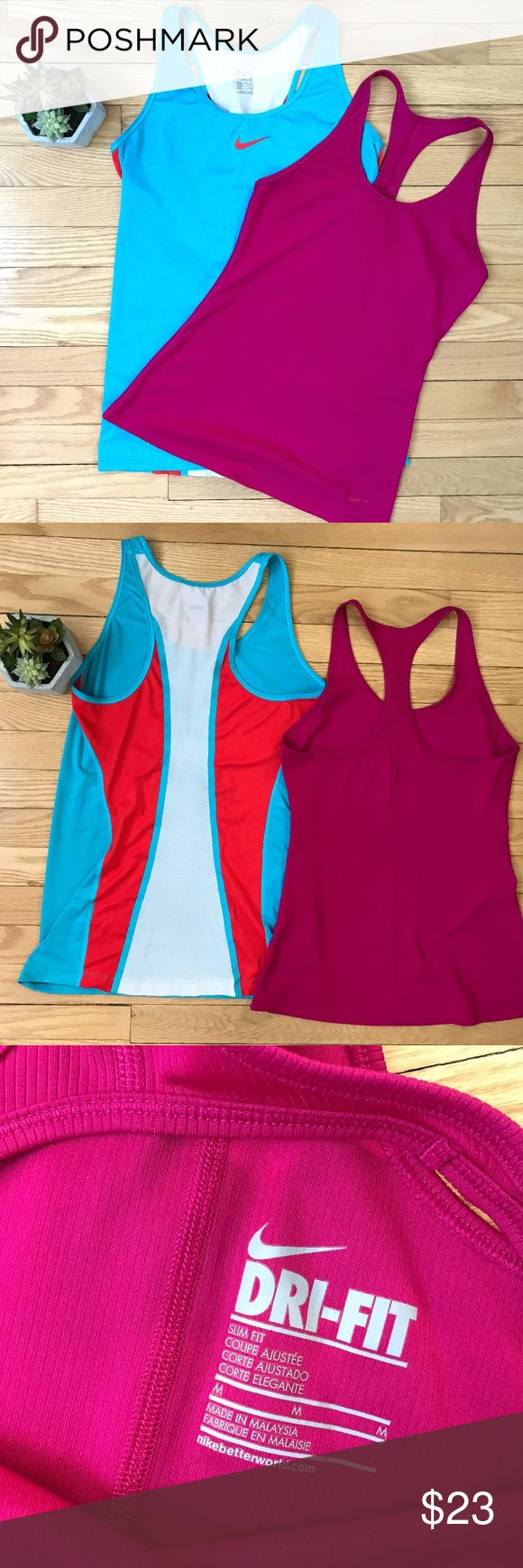Nike Tank Ladies Dri-Fit Bundle (2) Blue & Red Med Bundle of 2 very nice nike DriFit Tanks, the red/maroon one is bit more fitted style, while the blue is a straighter fit. Very nice condition, no flaws! No trades, no PP or otherwise-Happy Shopping! Nike Tops Tank Tops