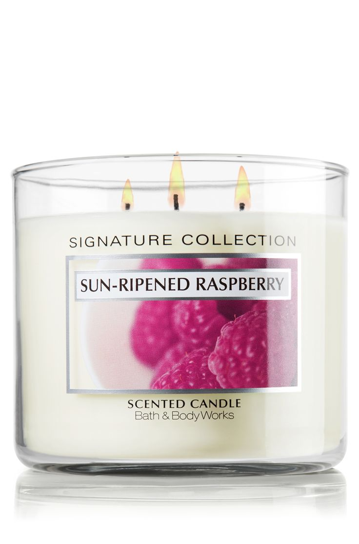 Sun Ripened Raspberry 14.5 oz. 3-Wick Candle - Classics - Bath & Body Works - The world's best candles are now available in your favorite retired Signature Collection Fragrances. In this positively irresistible fragrance, the scent of summer-ripened berries blends delectably with a hint of green vine.