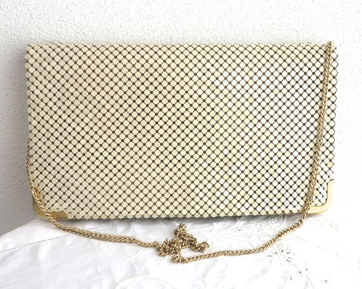 Bone / cream colored larger mesh shoulder / across body bag, original box, Glomesh, foldover front, gold chain handle, almost as new vintage by CardCurios on Etsy