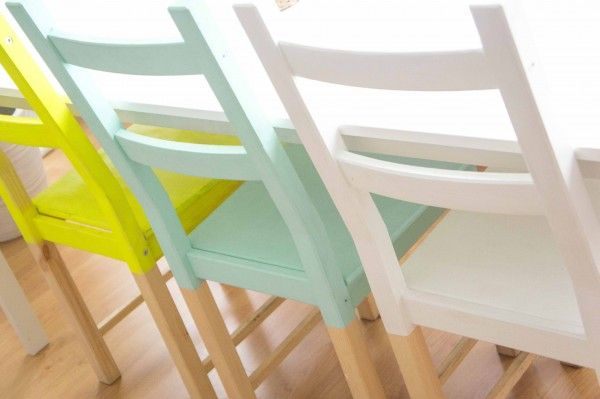 half painted ikea ivar chairs