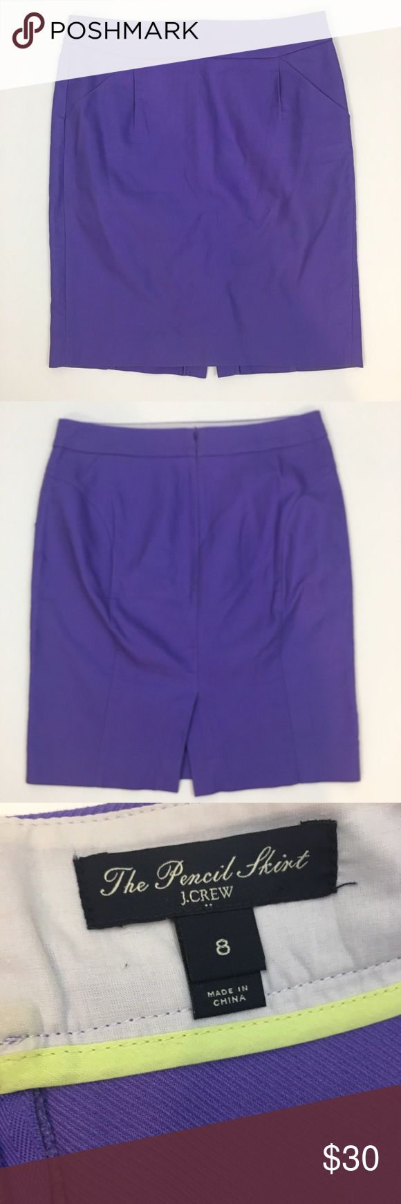 "J. Crew Factory purple pencil skirt J. Crew Factory purple pencil skirt. Front pockets. Unlined. Approx measurements laying flat: waist - 15.5"", length - 21.5"". Has been worn and washed; in great pre-loved condition with no holes or stains J. Crew Factory Skirts Pencil"