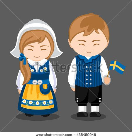 Swedes in national dress with a flag. A man and a woman in traditional costume. Travel to Sweden. People. Vector illustration.