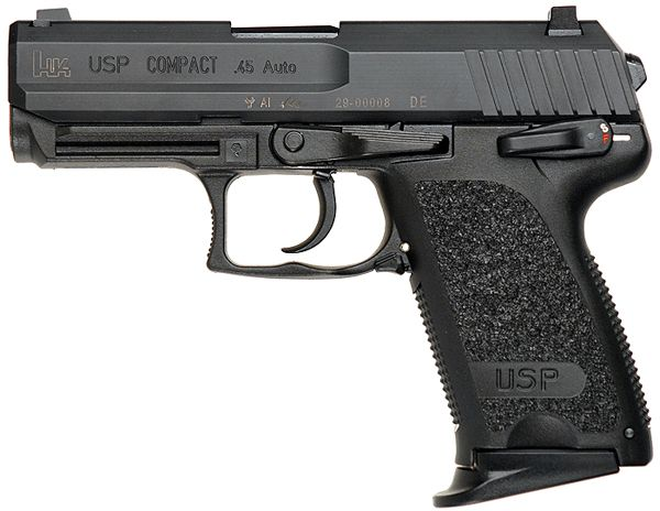 Heckler & Koch USP Compact - .45 ACP. Note that the there is a slight frame difference in front of the rail.