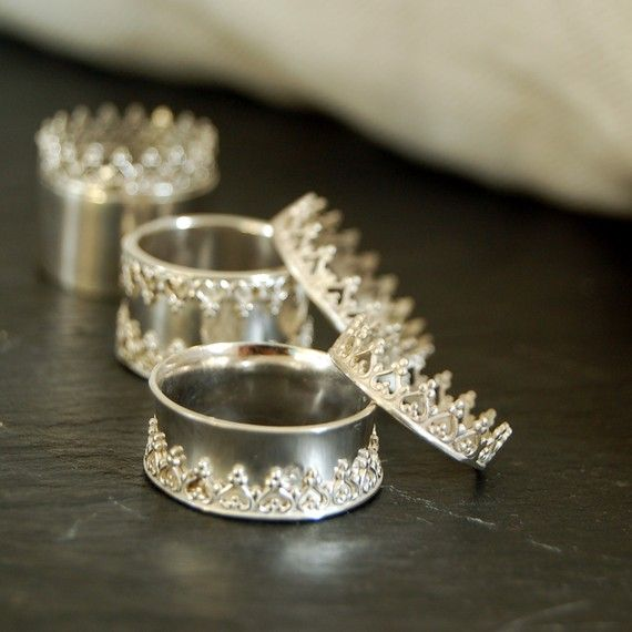 there is no queen without a crown ring silver band wedding ring engagement band crown sterling - Crown Wedding Rings