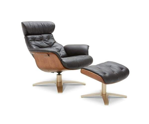 Anselmo Leather Recliner Ottoman In 2020 Leather Recliner Modern Recliner Scandinavian Recliner Chairs