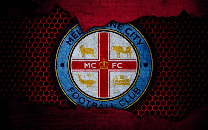 Download wallpapers Melbourne City, 4k, logo, A-League, soccer, football club, Australia, grunge, metal texture, Melbourne City FC