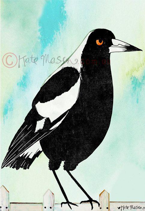 Magpie ART PRINT Australian Birds by MessyMissKate on Etsy