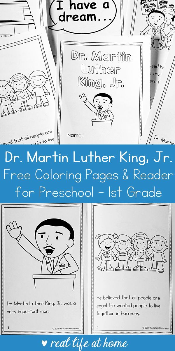 Martin Luther King Jr Coloring Book And Reader Printable For Preschool 1st Grade Martin Luther King Books Martin Luther King Activities Martin Luther King Jr Activities