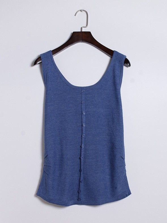 Casual Sleeveless U-neck Cotton Vest Tank Top with Buttons