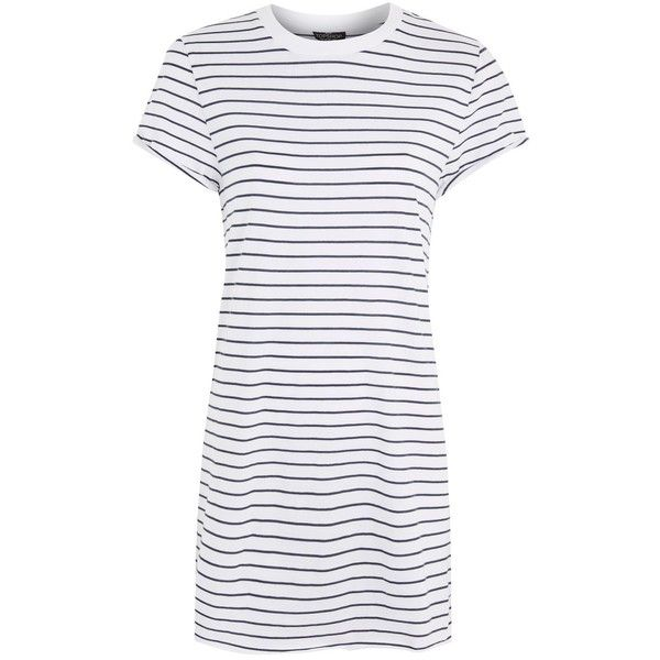 TopShop Petite Stripe Roll Back Tee Dress ($40) ❤ liked on Polyvore featuring dresses, navy blue, stripe dress, t-shirt dresses, navy blue short dress, short dresses and t shirt dress