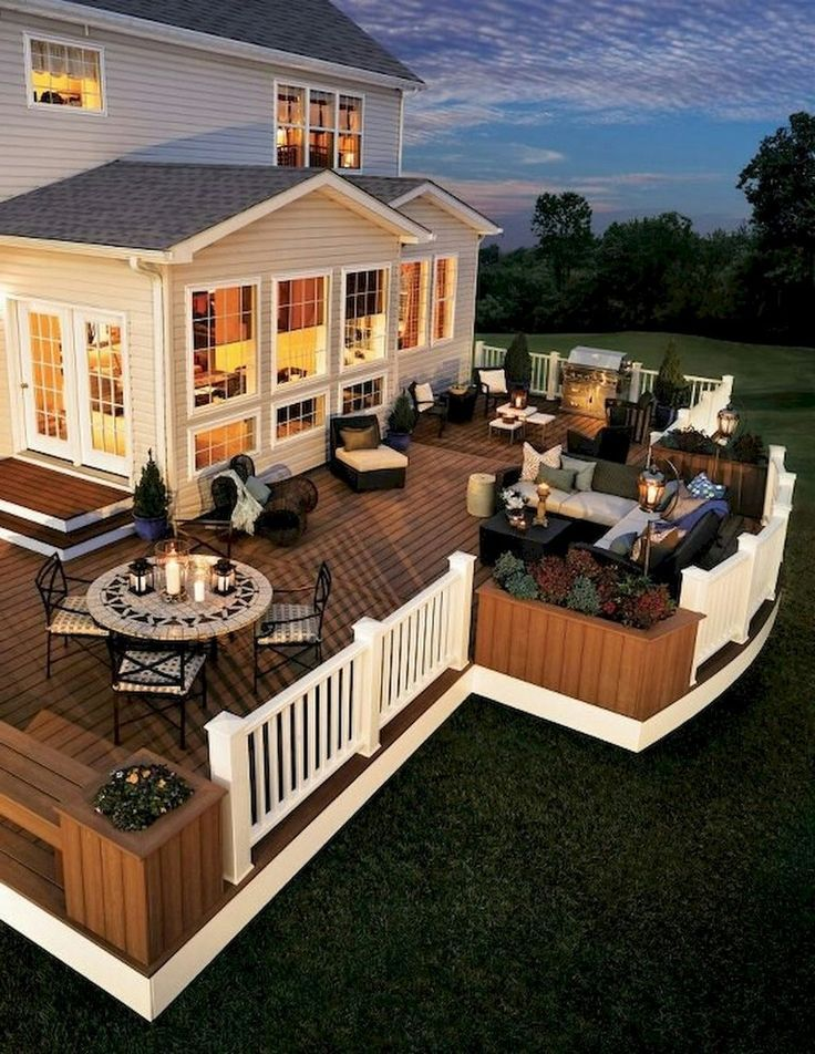 55 Creative Wooden Deck Porch Design Ideas Art Wooden Wood Pinterest Com Arka Bahceler Amerikan Evleri Luks Evler