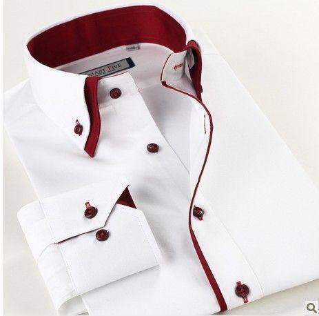 Spring 100% Cotton Long Sleeve White Shirts Slim Fit Double Collar Business Casual shirt XXL XXXL XXXXL XXXXXL