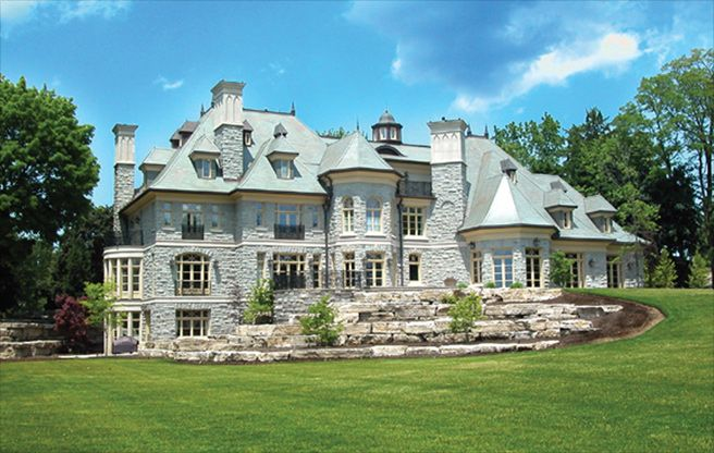 """Custom home mansion in Oakville, Ontario  North Country Semi-Weathering Green, 20"""" x 10"""" x 1/4"""""""
