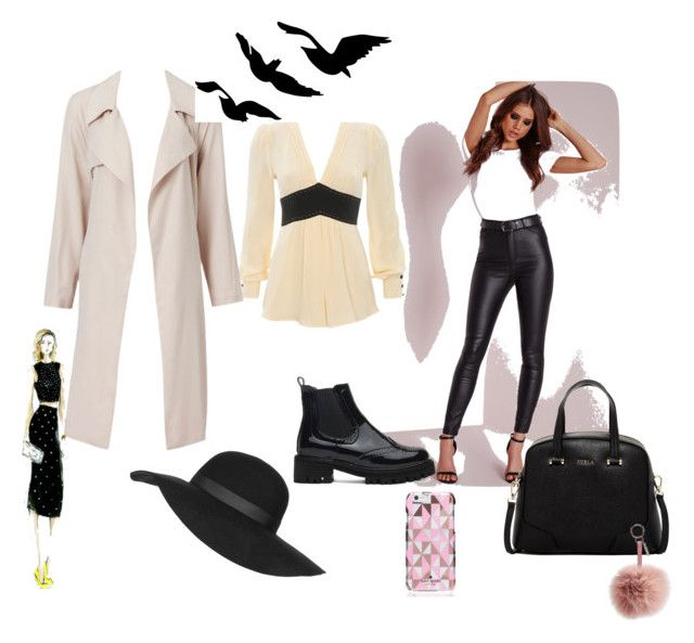 winter going to spring by okayaleks on Polyvore featuring Missguided, Furla, Topshop, Kate Spade, Fendi, women's clothing, women's fashion, women, female and woman