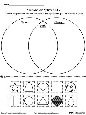 Venn Diagram Shapes Curved or Straight: Practice sorting items into groups based on attributes by using this Venn Diagram printable worksheet and help your child strengthen their sorting and reasoning skills. Do the shapes have curved or straight lines? or both?