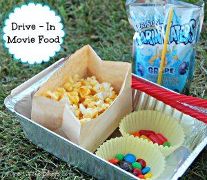 I have posted about making a drive in movie with cardboard boxes before.  Now, what about the concession stand?  How do you make your drive in movie more fun? Come see how we do it at fivelittlechefs.com #drive in food
