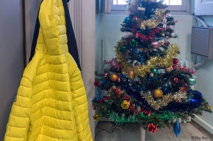 natale in ufficio - al mio collega Frank, Babbo Natale ha portato un piumino giallo.