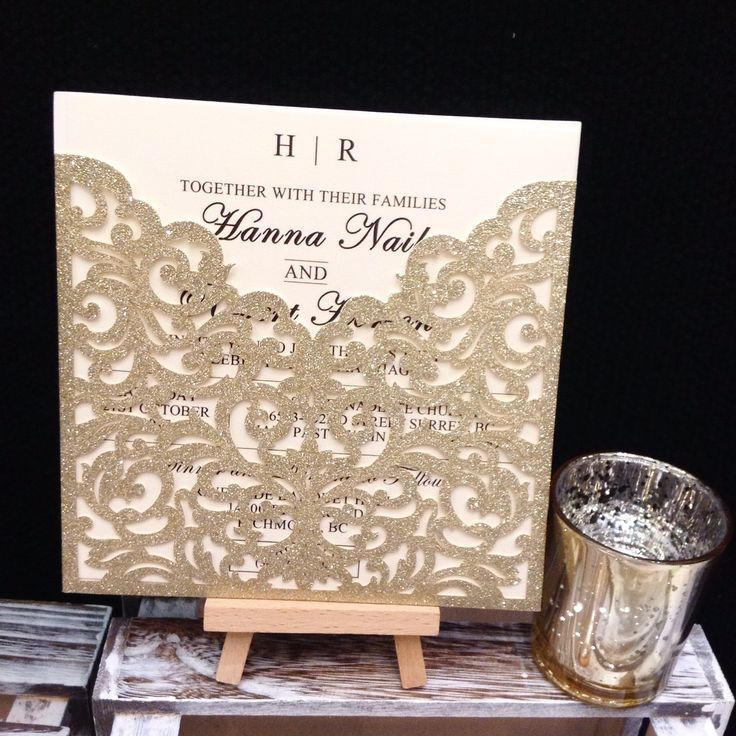 ✨ Sparkle & Shine ✨ This stunning glitter laser cut invitation boasts an elegant filigree lace in classic gold glitter.   Also available in silver and rose gold
